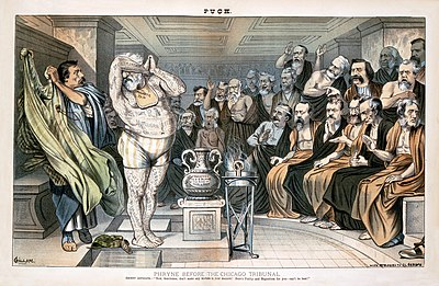 Mugwump cartoon mocking Republican presidential candidate James G. Blaine in an 1884 issue of Puck Bernard Gilliam - Phryne before the Chicago Tribunal.jpg