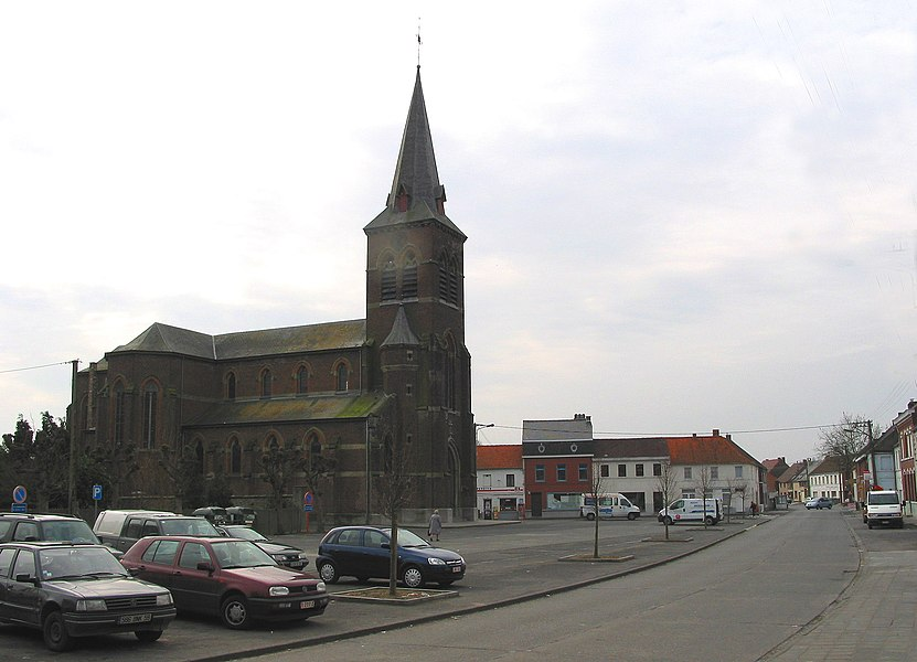 Bernissart (Belgium), the neighbourhood of the Holy Virgin church.