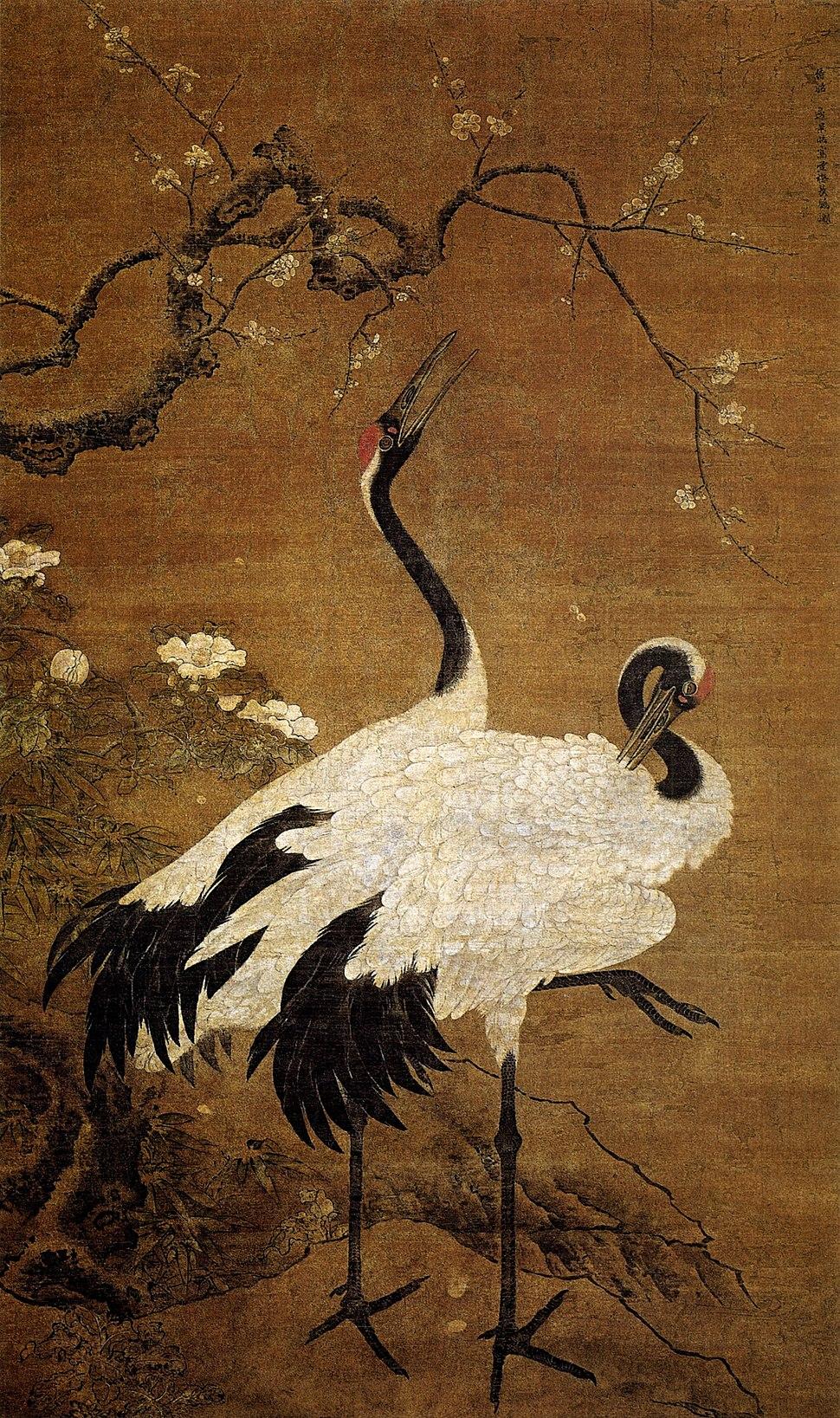 Bian Jingzhao-Snow Plum and Twin Cranes