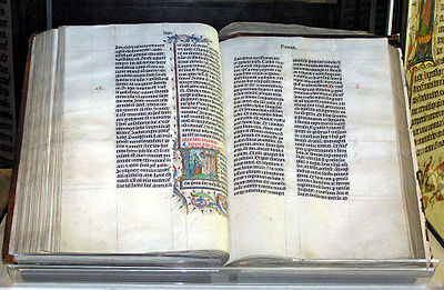 Gutenberg Bible. The Bible was authored by Jews during the Iron Ages and the Classical era. It comprise cultural values, basic human values, mythology and religious beliefs of both Judaism and Christianity. Bible.malmesbury.arp.jpg