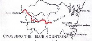 Blue Mountains (New South Wales) - Route of the Blaxland, Lawson, and Wentworth Crossing of 1813