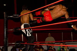 Sabian (wrestler) - BLK Jeez performing a dropkick.