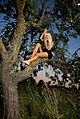 Blonde woman with black clothing up in a tree.jpg