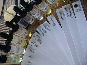 Paper blotters (fr:mouillettes) are commonly used by perfumers to sample and smell perfumes and odorants. Blotter strips.jpg
