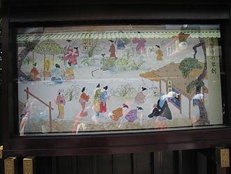 Sensō-ji - An illustration window in Sensoji of bosatsu Kannon consecrated and worshiped in early Senso-ji and Asakusa Shrine