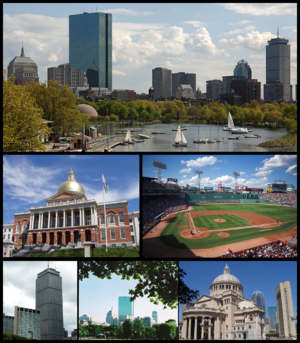Clockwise: Skyline of Back Bay seen from the Charles River, Fenway Park, Christian Science Church, Boston Common, Prudential Tower, and Massachusetts State House