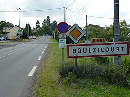 Boulzicourt (Ardennes) city limit sign.JPG