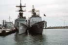 Bow view of USS Spruance (DD-963) and USS Ticonderoga (CG-47) at Naval Station Norfolk on 8 October 1983 (6397938)