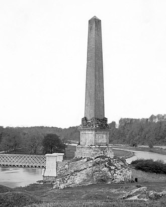 Battle of the Boyne - View of the commemorative Boyne Obelisk prior to 1883 (erected in 1736). It was destroyed in 1923.