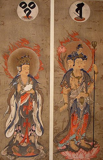 Nontheistic religion - The gods Śakra (left) and Brahmā (right)