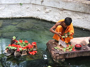 Taptapani - A young Hindu priest performing religious rituals at Taptapani hot spring