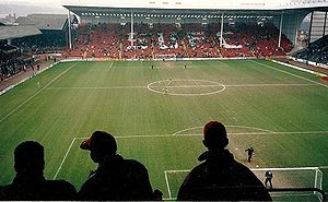 Bramall Lane - Bramall Lane, Sheffield, 1992 vs Manchester United. The old John Street terrace may be seen (left)