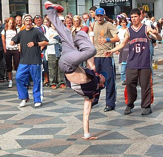 Freeze (b-boy move) - A B-Boy performing a one-handed freeze