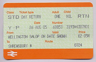 National Rail - Young Person's railcard rail ticket from Wellington to Shrewsbury