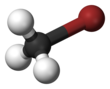 Ball and stick model of bromomethane
