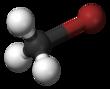 Bal en stick model van methylbromide