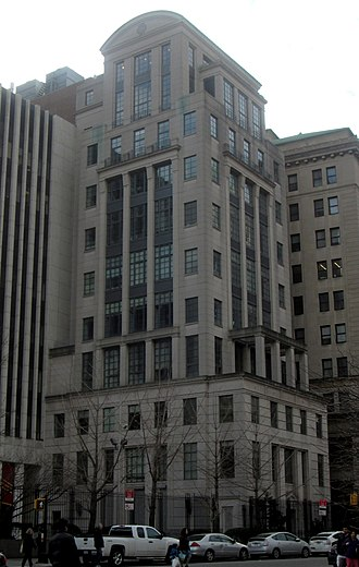 Education in New York City - Brooklyn Law School. The 1994 new classical Fell Hall tower by NYC architect Robert A. M. Stern pictured.