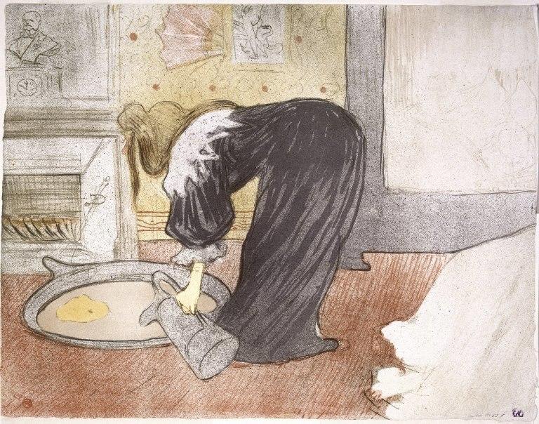 Brooklyn Museum - Woman at the Tub from the Portfolio Elles (Femme au Tub ) - Henri de Toulouse-Lautrec