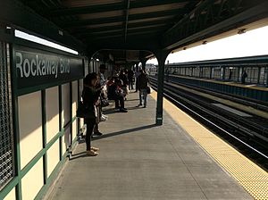 Brooklyn bound platform at Rockaway Blvd.jpg