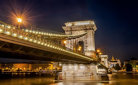 The most famous Budapest bridge, the Chain Bridge, the icon of the city's 19th century development, built in 1849 Budapest Hungary 08.jpg