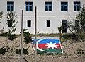 Building with Azerbaijan Flag - Nakhchivan Enclave in Azerbaijan - Viewed from across Aras River - Iranian Azerbaijan - Iran (7421361292).jpg