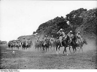 Battle of Kilimanjaro - A mounted contingent of the German colonial volunteer 8th Rifle Company, 1914