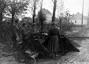 Siege of Budapest - Hungarian troops man a 7.5 cm Pak 40 antitank gun in a Budapest suburb