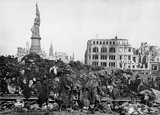 Allied war crimes during World War II - A pile of bodies before cremation after the British-American bombing raid on Dresden, 1945