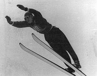 Ski jumping techniques - Harald Pfeffer using the Kongsberger technique, 1959