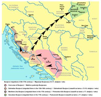 Bunjevci - Bunjevci migrations (13th-17th century)