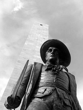 Charlestown, Boston - The Bunker Hill Monument and William Prescott Statue
