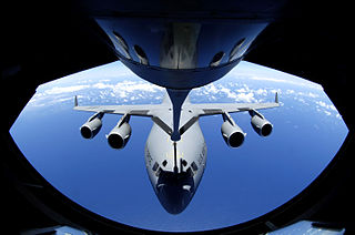 Flight operation in which one or more aircraft are refueled in flight from another aircraft in flight