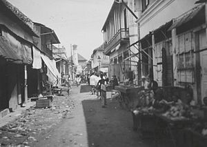 Arab Indonesians - The Ampel Mosque at the end of a shopping street in the Arab quarter of Surabaya, January 14, 1927
