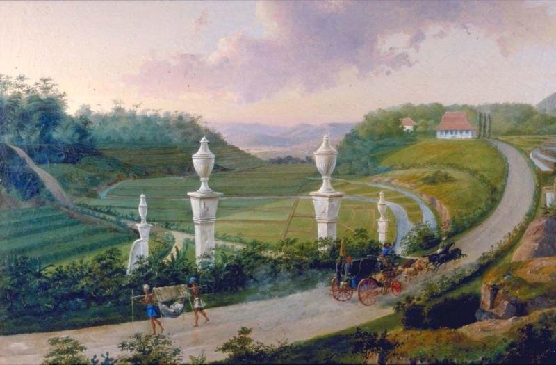 COLLECTIE TROPENMUSEUM Olieverfschildering voorstellend de grote postweg bij Buitenzorg TMnr 1012-1