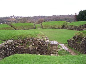Theatre of Wales - Remains of the Roman amphitheatre at Caerleon, perhaps the oldest purpose built theatrical space in Wales