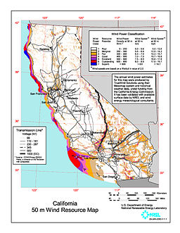 California wind resource map 50m 800