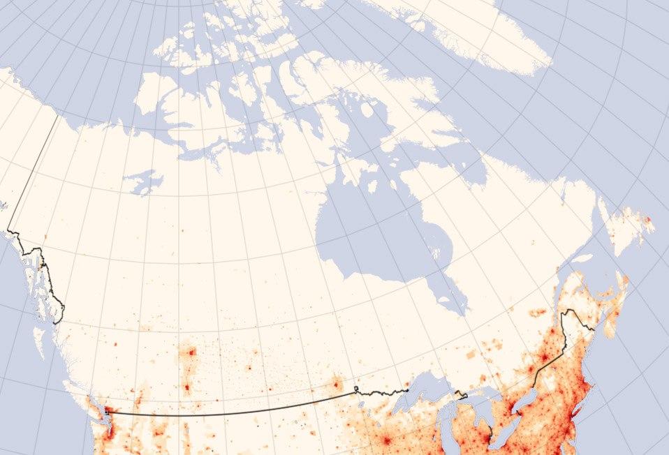 Canada Population density map