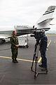 Canadian Forces Maj. Julie Roberge, left, speaks to a member of the media about exercise Vigilant Eagle 2013 at Joint Base Elmendorf-Richardson, Alaska, Aug. 28, 2013 130828-O-ZZ999-007-CA.jpg