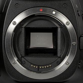 Canon EF-S lens mount - An EF-S compatible mount close-up, from the Canon 30D. Note the circular indent inside the mount, which corresponds to the raised ring on the lens.