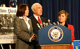 Sen. Lautenberg (center) along with Sen. Barbara Boxer (right) and Sen. Maria Cantwell (left) at a news conference discussing whether oil executives lied during a recent Congressional testimony regarding price gouging.