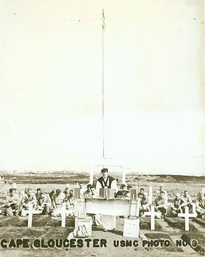 Battle of Cape Gloucester - A memorial service for Marines killed during the battle