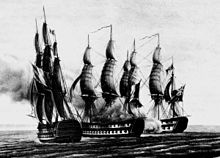 Two sailing warships flying flags with three vertical bands lie in front of a third sailing warship that features a flag with a cross hatched design on the top right corner. All three ships are surrounded by large clouds of smoke