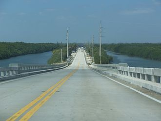 Card Sound Bridge - Looking west on the bridge, towards the toll station, in 2011
