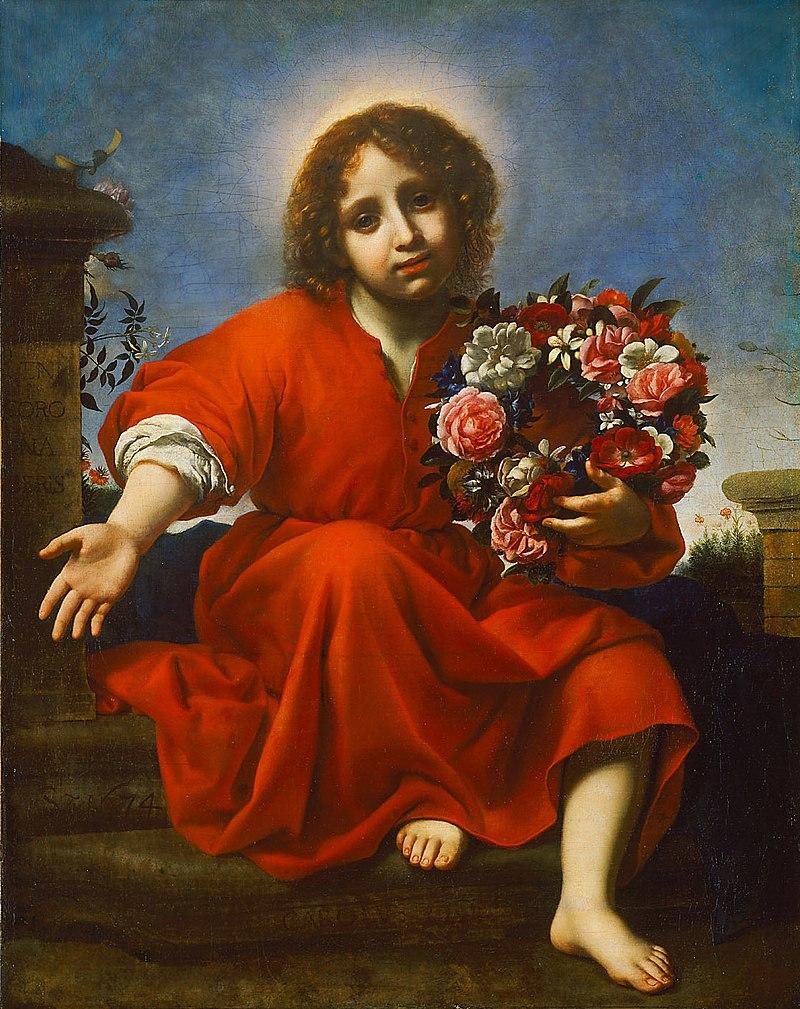 Carlo Dolci - Der Jesusknabe lädt die christliche Seele ein, um sie dem Hohelied entsprechend zu krönen - GG F8 - Kunsthistorisches Museum.jpg