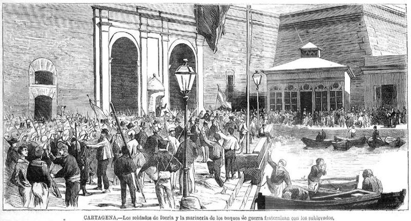 Cartagena en julio de 1873, grabado publicado en La Ilustracion Española y Americana.