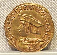 Casale monferrato, bonifacio II paleologo marchese, oro, 1518-1530.JPG