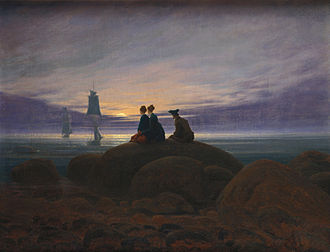 German Romanticism - Caspar David Friedrich, (1774–1840) Moonrise Over The Sea, 1822, 55x71 cm