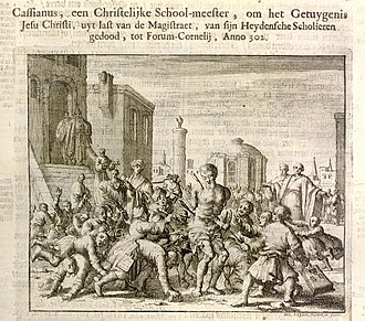 Cassian of Imola - Cassian being killed by his students.  From the Dutch Martyrs Mirror.