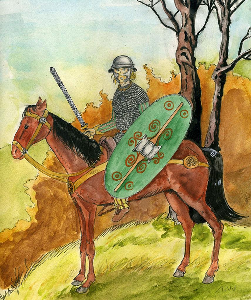 Cavalier celte du Ier siècle avant J.-C. illustré par Khaerr / CC BY-SA 3.0 Khaerr, Novembre 2013