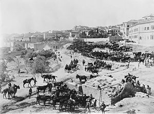 Cavalry watering at Mary's Well in Nazareth 1918 (AWM image B00273).jpg